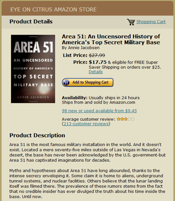 Area 51: An Uncensored Hisotry available EYE ON CITRUS STORE EOC  EYEONCITRUS.COM