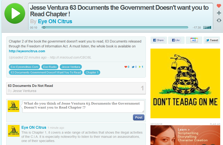 Click here to listen to Chapter 1 of Jesse Ventura's book 63 Documents the Government dosesn't want you to read!