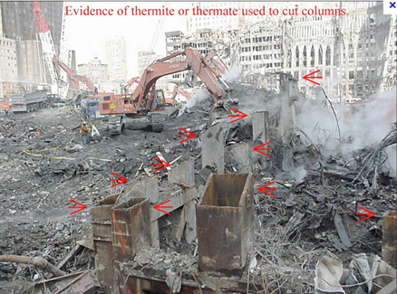 photo shows how the griders were cut down with thermite EYEONCITRUS.COM
