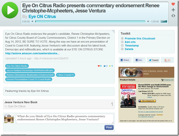 CLICK HERE TO LISTEN TO OUR LATEST BROADCAST OF EYE ON CITRUS RADIO   EYEONCITRUS.COM