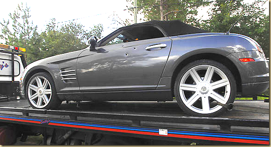 The body of Jamie Seeger was found in this car, a Chrysler Crossfire, around 3 A.M. on July 25, 2012, a shooting victim, in Crystal River, Floirda   EYEONCITRUS.COM