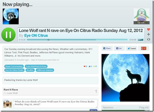 Sunday Evening Broadcast Lone Wolf Eye On Citrus Radio EYEONCITRUS.COM