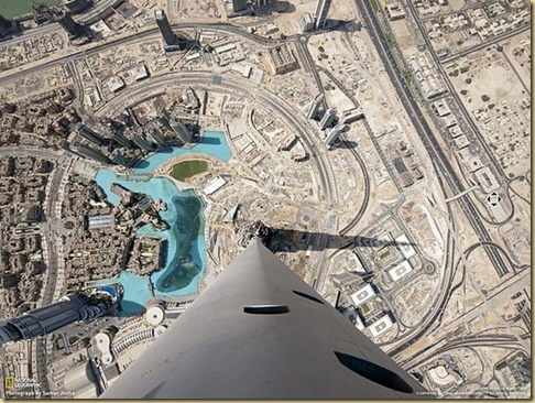 Dubai. The view from the skyscraper BurjKhalifa, LOOKING DOWN,  EYEONCITRUS.COM