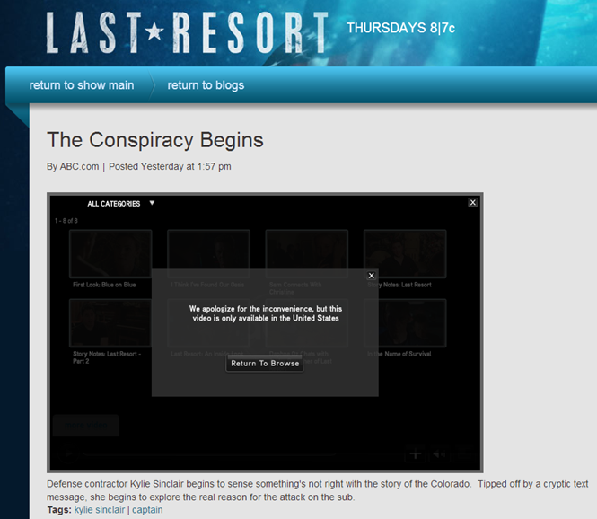 The Last Resort-everybody gets this screen, whether your in the U.S. or NOT!
