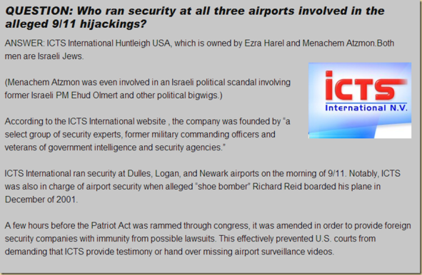QUESTION: Who ran security at all three airports involved in the alleged 9/11 hijackings?
