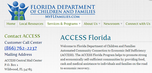 CLICK HERE for ACCESS for Family Assistance Florida  or call 1-866-762-2237   EYEONCITRUS.COM