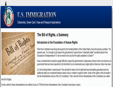 United States Imigration Bill of Rights