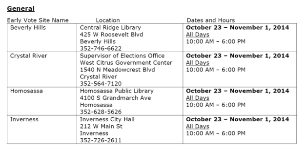 Early Voting Locations Time and Place 2014   EYEONCITRUS.COM