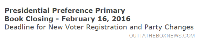 Presidential Preference Primary Book Closing OUTTATHEBOXNEWS.COM