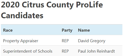 PROLIFE PAC ENDORSES DAVID GREGORY REPUBLICAN CANDIDATE FOR CITRUS COUNTY PROPERTY APPRAISER